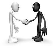 Shake hands. Cartoon guys shake hands - 3d illustration Royalty Free Stock Photography