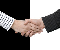 Shake hands of opposites Royalty Free Stock Photo