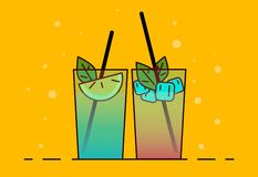 Shake illustration. Color picture - Vektorgrafik. Shake icon . Flat vector illustration cocktail with lemon and mint. Drink icon vector illustration