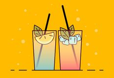 Shake illustration. Color picture - Vektorgrafik. Shake icon . Flat vector illustration cocktail with lemon and mint. Drink icon stock illustration