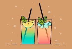 Shake illustration. Color picture - Vektorgrafik. Shakes icon . Flat illustration cocktails with fruit, lemon and ice-cubes royalty free illustration