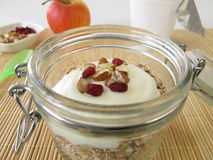 Shake muesli with yogurt in a jar Royalty Free Stock Photo