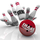 Shake Things Up Bowling Ball Pins Strike Exciting Vs Boring. Shake Things Up words on a bowling ball striking pins marked bowling as an exciting idea ending Stock Images