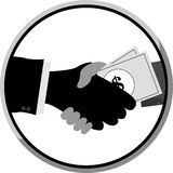Shakehand and Give a Money to Other Hand Stock Images