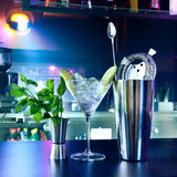 Shaker and bar inventory. At a nightclub Royalty Free Stock Photo