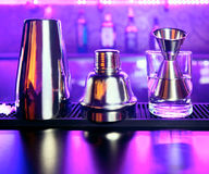 Shaker and bar inventory. At a nightclub Stock Photography