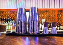 Shaker and bar inventory. Shaker, jigger and bar inventory at nightclub Royalty Free Stock Photos