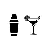 Shaker with cocktail vector icon. On white background Stock Image