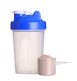 Shaker and cup of protein powder isolated on white Royalty Free Stock Photography