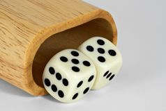Shaker and Dice: 55. Shaker and dice showing 55 Royalty Free Stock Photography