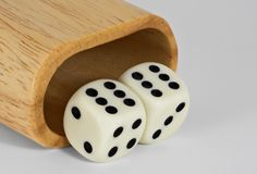 Shaker and Dice: 66. Shaker and dice showing 66 Royalty Free Stock Images