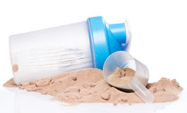 Shaker- och proteinpulver Arkivfoto