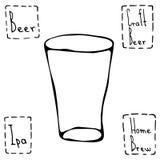Shaker Pint Beer Glass Hand gezeichneter Vektor Illustraition Stockfotografie