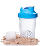 Shaker and protein powder Royalty Free Stock Image