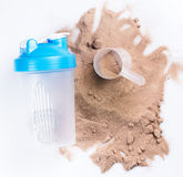 Shaker and protein powder Royalty Free Stock Images