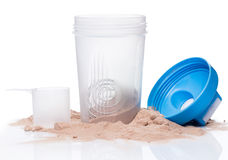 Shaker and protein powder Stock Photography