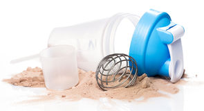 Shaker and protein powder Stock Photos