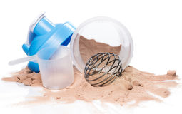 Shaker and protein powder Royalty Free Stock Photography