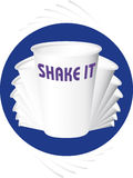 Shaker style. Dancing white dish, shake, milk bar, dairy bar, take away, shaker, shaker style, milk shake, dish, move, motion, cocktail, color crucibles, food Stock Images