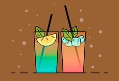 Shake illustration. Color picture - Vektorgrafik. Shakes icon . Flat illustration cocktails with fruit, lemon and ice-cubes stock illustration