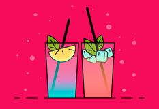 Shakes illustration. Color picture - Vektorgrafik. Shakes icon . Flat illustration cocktails with fruit, lemon and ice-cubes vector illustration