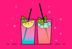 Shake illustration. Color picture - Vektorgrafik. Shakes icon . Flat illustration cocktails with fruit, lemon and ice-cubes vector illustration