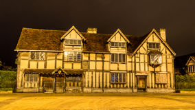 Shakespeare Birthplace Facade by night. ENGLAND, Stratford-upon-Avon - 28 MAY 2014: Shakespeare Birthplace Facade by night Stock Photo