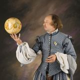 Shakespeare with globe. William Shakespeare in period clothing holding spinning globe Royalty Free Stock Photography