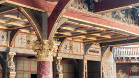 Shakespeare Globe theatre in London UK. Interior of the famous old Shakespeare Globe theatre in London United Kingdom Royalty Free Stock Images