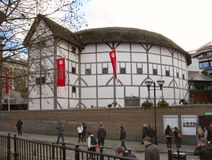 The Shakespeare Globe Theatre opened in 1997 in Southwark, London, a modern reconstruction of the original Globe from 1599. London, England - November 26, 2009 Stock Images
