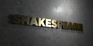 Shakespeare - Gold text on black background - 3D rendered royalty free stock picture Royalty Free Stock Photos