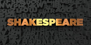 Shakespeare - Gold text on black background - 3D rendered royalty free stock picture Stock Image