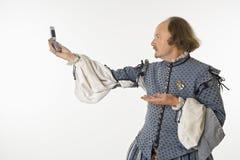 Shakespeare mit Handy. Lizenzfreies Stockfoto
