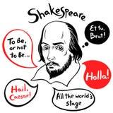 Shakespeare-Porträt mit berühmten Zitaten und Rede sprudelt Stockfoto