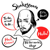 Shakespeare portrait with famous quotes and speech bubbles Stock Photo
