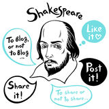 Shakespeare portrait with speech bubbles and social media funny citations Stock Photos