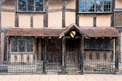 Shakespeares Birthplace. A view showing the entrance to Shakespeares birthplace, also showing wonderful leaded windows Stock Image