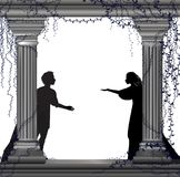 Shakespeare s lekcharmör och Juliet, romantiskt datum, kontur, kärlekshistoria, stock illustrationer