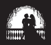 Shakespeare s play Romeo and Juliet on balcony, romantic date, silhouette, love story, Stock Image