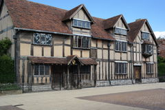 Shakespeares birhplace. Stratford-on-avon England shakespeares birthplace ancient architecture sunny day blue sky wooden framed building Royalty Free Stock Images