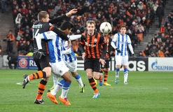 Shakhtar defenders are playing with their rivals Royalty Free Stock Photos