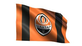 Shakhtar Donetsk flag is waving. On transparent background. Seamless loop stock video footage