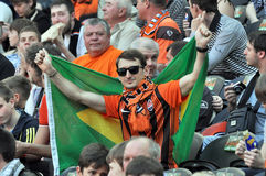 Shakhtar fan with a Brazilian flag Stock Photos