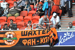 Shakhtar fans hang a banner Stock Photos