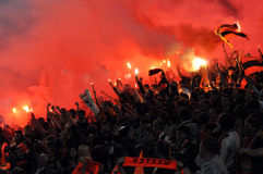 Shakhtar Fans Lit Fireworks In The Stands Royalty Free Stock Photo