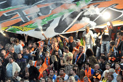 Shakhtar fans lit fireworks on the sector Stock Images