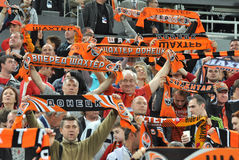 Shakhtar fans before the match Royalty Free Stock Photos
