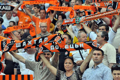 Shakhtar fans with scarves Royalty Free Stock Image