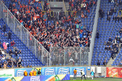 Shakhtar fans took their places on the podium guest Stock Photos