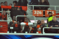 Shakhtar fans on top of the podium Royalty Free Stock Photography